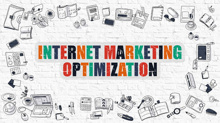 monetizing: Multicolor Concept - Internet Marketing Optimization - on White Brick Wall with Doodle Icons Around. Modern Illustration with Doodle Design Style. Stock Photo