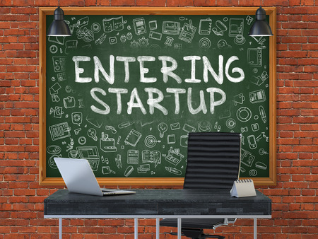 monetizing: Hand Drawn Entering Startup on Green Chalkboard. Modern Office Interior. Red Brick Wall Background. Business Concept with Doodle Style Elements. 3D.