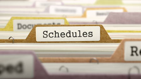 rigor: Schedules - Folder Register Name in Directory. Colored, Blurred Image. Closeup View. 3D Render.