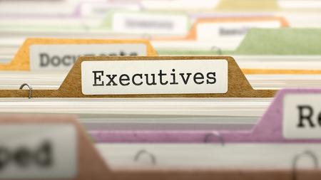 headman: Executives Concept. Colored Document Folders Sorted for Catalog. Closeup View. Selective Focus. 3D Render.