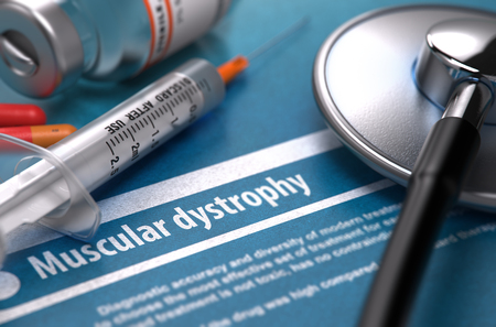 myopathy: Muscular dystrophy - Medical Concept with Blurred Text, Stethoscope, Pills and Syringe on Blue Background. Selective Focus. 3D Render.