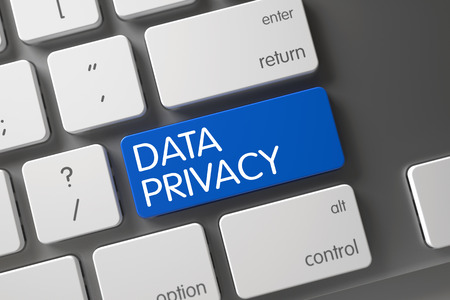 data privacy: Concept of Data Privacy, with Data Privacy on Blue Enter Keypad on Modern Laptop Keyboard. Metallic Keyboard with the words Data Privacy on Blue Button. 3D Render.