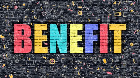 brickwall: Benefit. Multicolor Inscription on Dark Brick Wall with Doodle Icons Around. Benefit Concept. Modern Style Illustration with Doodle Design Icons. Benefit on Dark Brickwall Background. Stock Photo