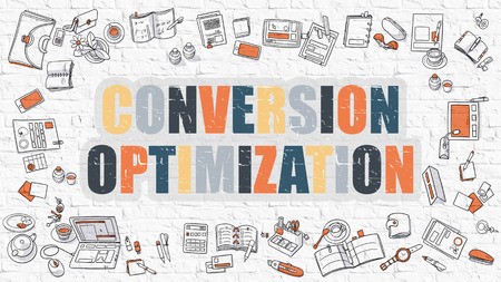 feedback link: Conversion Optimization - Multicolor Concept with Doodle Icons Around on White Brick Wall Background. Modern Illustration with Elements of Doodle Design Style. Stock Photo
