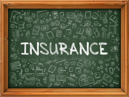 belay: Insurance - Hand Drawn on Green Chalkboard with Doodle Icons Around. Modern Illustration with Doodle Design Style.