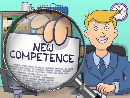 renewed: Officeman in Suit Looking at Camera and Showing Paper with Text New Competence through Magnifier. Closeup View. Colored Doodle Style Illustration.