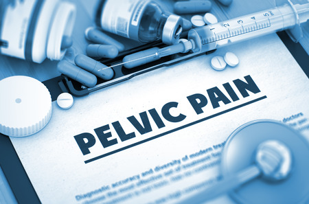 pelvic: Pelvic Pain - Printed Diagnosis with Blurred Text. Pelvic Pain Diagnosis, Medical Concept. Composition of Medicaments. Pelvic Pain, Medical Concept with Selective Focus. 3D. Stock Photo