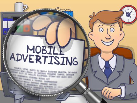 mobile advertising: Mobile Advertising through Lens. Man Holds Out a Paper with Text. Closeup View. Colored Modern Line Illustration in Doodle Style.