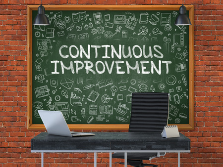 refinement: Green Chalkboard on the Red Brick Wall in the Interior of a Modern Office with Hand Drawn Continuous Improvement.  Business Concept with Doodle Style Elements. 3d.