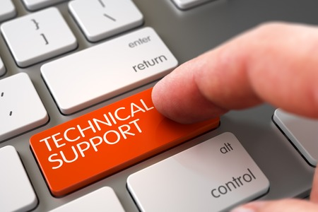 Technische ondersteuning - Slanke aluminium toetsenbordknop. Handvinger Druk op Technische ondersteuningstoets. Gemoderniseerd toetsenbord met technische ondersteuning Oranje knop. 3D illustratie.