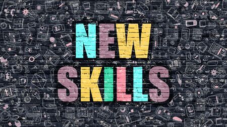 brickwall: New Skills. Multicolor Inscription on Dark Brick Wall with Doodle Icons Around. New Skills Concept. Modern Style Illustration with Doodle Design Icons. New Skills on Dark Brickwall Background.