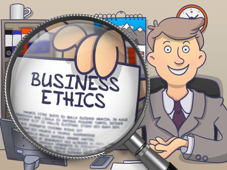 business ethics: Business Ethics. Paper with Text in Businessmans Hand through Magnifier. Colored Modern Line Illustration in Doodle Style. Stock Photo