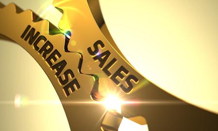 incremento: Aumentar las ventas en el mecanismo de ruedas dentadas de oro. Aumentar las ventas - Concepto. Aumentan las ventas de oro Mecanismo de engranajes metálicos con efecto de resplandor. Aumentar las ventas - Ilustración con la flama de la lente. 3D.