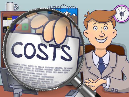 holds: Costs through Lens. Officeman in Office Workplace Holds Out Paper with Text. Colored Modern Line Illustration in Doodle Style.