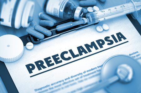 morbidity: Preeclampsia, Medical Concept with Pills, Injections and Syringe. Preeclampsia - Medical Report with Composition of Medicaments - Pills, Injections and Syringe. 3D. Stock Photo