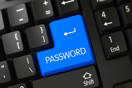 logon: Concepts of Password, with a Password on Blue Enter Key on Computer Keyboard. Computer Keyboard Keypad Labeled Password. Password on PC Keyboard Background. 3D. Stock Photo