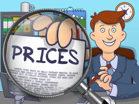 levy: Man in Suit Looking at Camera and Shows Paper with Prices Concept through Lens. Closeup View. Multicolor Doodle Style Illustration.