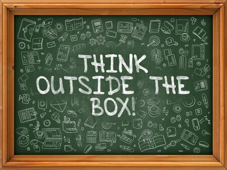 outside box: Green Chalkboard with Hand Drawn Think Outside the Box with Doodle Icons Around. Line Style Illustration.