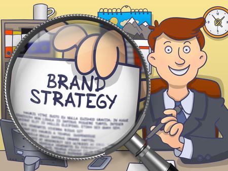posicionamiento de marca: Hombre de negocios en juego que mira la cámara y posee salida de papel con la marca del concepto de la estrategia a través de la lupa. Primer punto de vista. Ilustración multicolor línea de estilo moderno Doodle. Foto de archivo