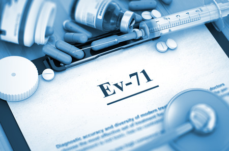 enteric: Ev-71, Medical Concept with Selective Focus. Ev-71 - Printed Diagnosis with Blurred Text. Diagnosis - Ev-71 On Background of Medicaments Composition - Pills, Injections and Syringe. 3D.