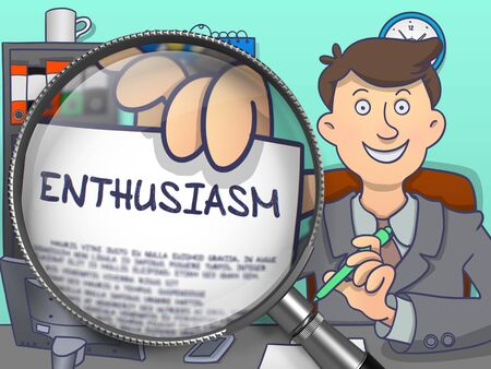 ardor: Enthusiasm through Magnifier. Officeman Holds Out a Text on Paper. Closeup View. Multicolor Doodle Illustration.