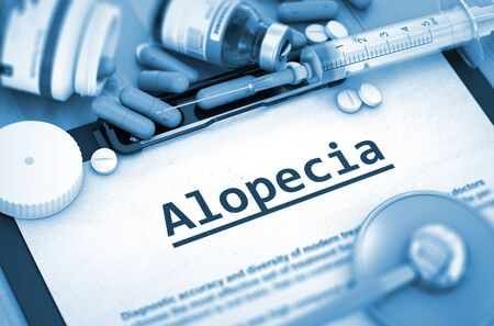 hormonal: Diagnosis - Alopecia On Background of Medicaments Composition - Pills, Injections and Syringe. Alopecia - Printed Diagnosis with Blurred Text. 3D.