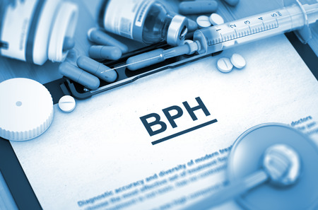 hesitancy: BPH - Printed Diagnosis with Blurred Text. BPH Diagnosis, Medical Concept. Composition of Medicaments. BPH, Medical Concept with Pills, Injections and Syringe. 3D.