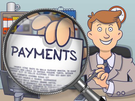 magnifying glass man: Payments through Magnifying Glass. Man Welcomes in Office and Holds Out Paper with Concept. Colored Doodle Style Illustration.