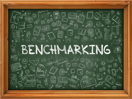 comparing: Benchmarking - Hand Drawn on Green Chalkboard with Doodle Icons Around. Modern Illustration with Doodle Design Style. Stock Photo