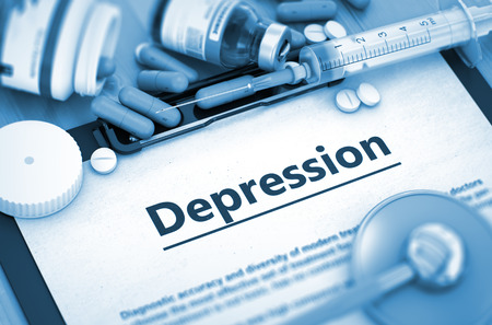 somatic: Diagnosis - Depression On Background of Medicaments Composition - Pills, Injections and Syringe. Depression, Medical Concept with Pills, Injections and Syringe. 3D. Stock Photo