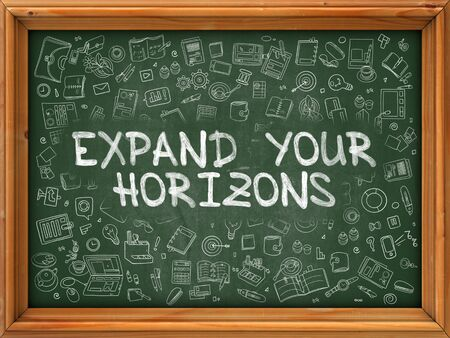 horizons: Expand Your Horizons - Hand Drawn on Green Chalkboard with Doodle Icons Around. Modern Illustration with Doodle Design Style.