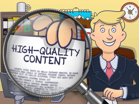 rewriting: High-Quality Content. Officeman Welcomes in Office and Showing Text on Paper through Lens. Colored Doodle Style Illustration. Stock Photo