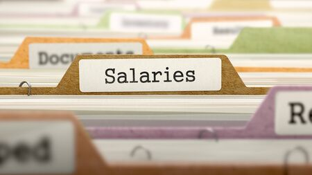 remuneraciones: Salaries - Folder Register Name in Directory. Colored, Blurred Image. Closeup View. 3D Render. Foto de archivo