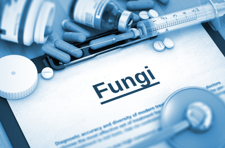 fungal disease: Fungi - Medical Report with Composition of Medicaments - Pills, Injections and Syringe. Fungi, Medical Concept with Selective Focus. Fungi - Printed Diagnosis with Blurred Text. 3D.