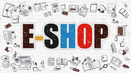 eshop: E-Shop Concept. E-Shop Drawn on White Wall. E-Shop in Multicolor. Doodle Design. E-Shop Concept. Modern Style Illustration. Doodle Design Style of E-Shop. Line Style Illustration. White Brick Wall.