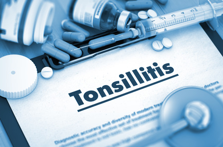 tonsillitis: Diagnosis - Tonsillitis On Background of Medicaments Composition - Pills, Injections and Syringe. 3D. Stock Photo