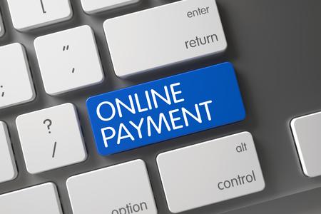 remuneraciones: Azul botón de pago en línea en el teclado. Clave de pago en línea. Concepto de pago en línea: Teclado de aluminio con el pago en línea, el enfoque seleccionado en azul Botón Enter. Render 3D. Foto de archivo