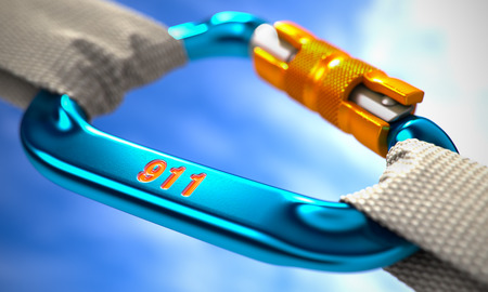 Blue Carabine with White Ropes on Sky Background, Symbolizing the 911. Selective Focus. 3D Render. Stock fotó