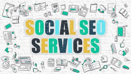 seo services: Social SEO Services - Multicolor Concept with Doodle Icons Around on White Brick Wall Background. Modern Illustration with Elements of Doodle Design Style. Stock Photo