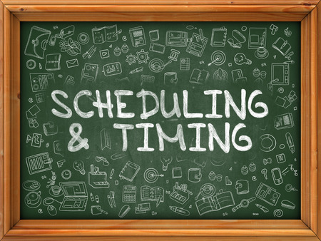 scheduling: Green Chalkboard with Hand Drawn Scheduling and Timing with Doodle Icons Around. Line Style Illustration. Stock Photo