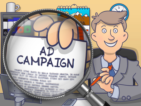 brand activity: Ad Campaign on Paper in Business Mans Hand to Illustrate a Business Concept. Closeup View through Magnifying Glass. Multicolor Doodle Style Illustration. Stock Photo