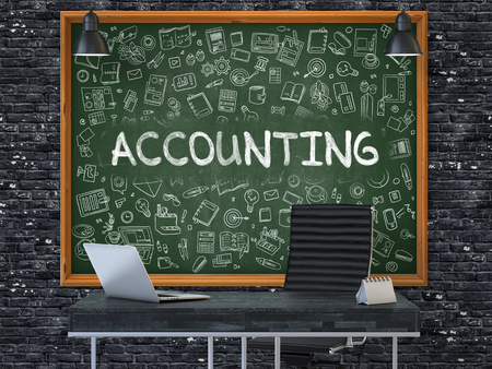 stocktaking: Accounting Concept Handwritten on Green Chalkboard with Doodle Icons. Office Interior with Modern Workplace. Dark Brick Wall Background. 3D. Stock Photo