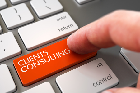 managerial: Clients Consulting Concept. Man Finger Pushing Clients Consulting Orange Button on Modern Keyboard. Clients Consulting Concept - Computer Keyboard with Keypad. 3D Render.