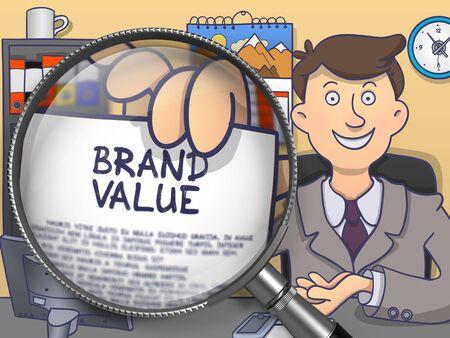 El valor de marca a través de la lupa. El hombre de negocios sentado en la oficina y extiende de papel con el concepto. Ilustración multicolor del Doodle.