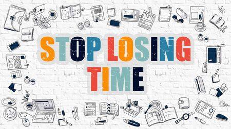 gestion del tiempo: Dejar de perder el concepto de tiempo. Ilustraci�n estilo de l�nea moderna. Multicolor Stop Time dibujado en la pared blanca de ladrillo Perder. Los iconos del Doodle. Dise�o de estilo de bosquejo de dejar de perder el concepto de tiempo.