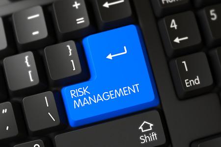minimization: Risk Management on PC Keyboard Background. Risk Management Concept: Modernized Keyboard with Risk Management, Selected Focus on Blue Enter Key. 3D Illustration.