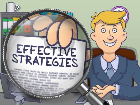 effective: Effective Strategies. Businessman Welcomes in Office and Showing through Lens Paper with Inscription. Colored Doodle Style Illustration.