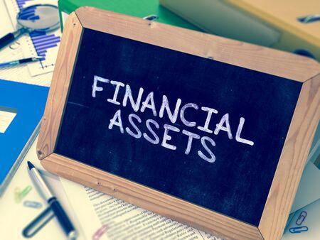 financial assets: Hand Drawn Financial Assets Concept  on Chalkboard. Blurred Background. Toned Image. 3D Render.