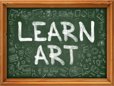 assiduous: Learn Art Concept. Line Style Illustration. Learn Art Handwritten on Green Chalkboard with Doodle Icons Around. Doodle Design Style of  Learn Art.