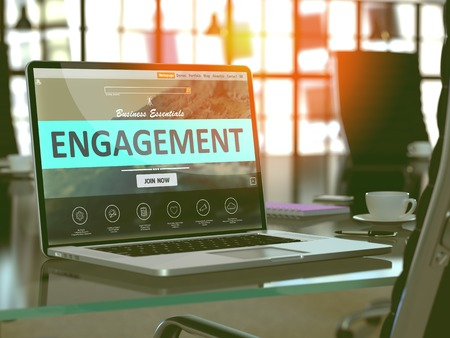 prompting: Engagement Concept - Closeup on Laptop Screen in Modern Office Workplace. Toned Image with Selective Focus. 3D Render.